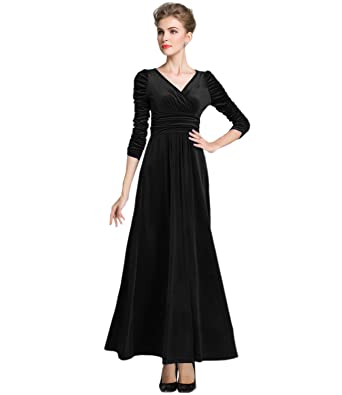 Medeshe Womens Emerald Green Christmas Long Velvet Party Maxi Dress (UK 6/8,