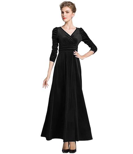 0b9f35dd8800e MedeShe Women's Christmas Long Sleeve V Neck Velvet Maxi Dress