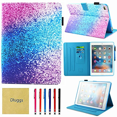 iPad Air 2 Case, iPad Air Case, iPad 9.7 2017/2018 Case, Dluggs PU Leather Folio Smart Cover with Auto Sleep/Wake Function for Apple 9.7 Inch Tablet iPad 6th / 5th Gen, iPad Air 1/2, Colorful Sand (For Ipad 2 Girls Cases)