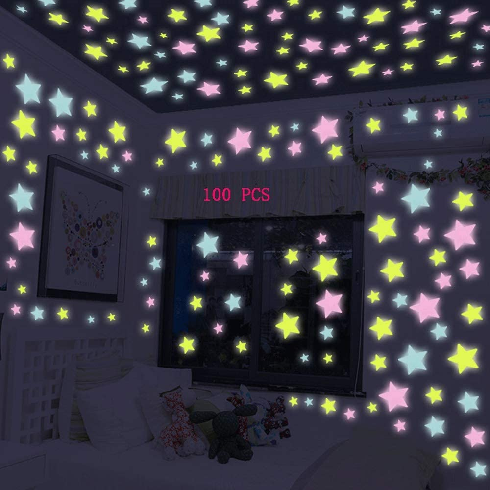 Descanso Y Sueño Cualquier Leampp Luminosa Pegatinas Brillan En La Oscuridad Estrellas De La Luna Pegatinas For Chicas Niños Sitio Divertido Tatuajes De Pared Luminosa Del Bebé Decoración De La Pared For