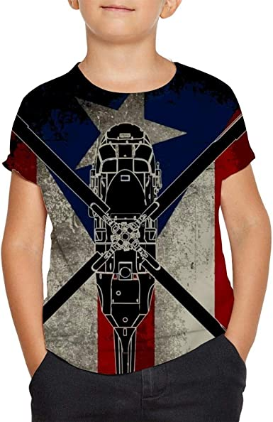 Puerto Rico Flag Cotton Youth T Shirts Short Sleeve for Teenager Boys Girls