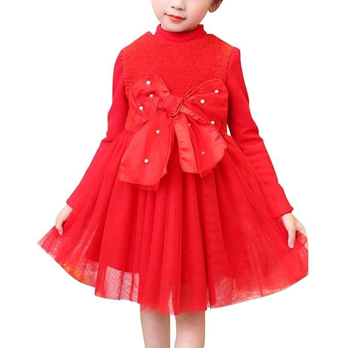 YoungSoul Vestidos niña con lazo en la parte delantera vestido de manga larga invierno para boda