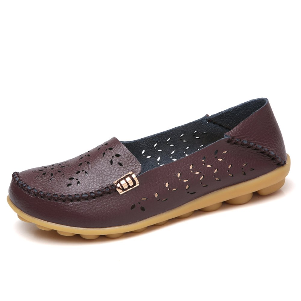 NineCiFun Womens Casual Flats Hollow Out Leather Slip On Driving Loafers(9 B(M) US,Coffee)