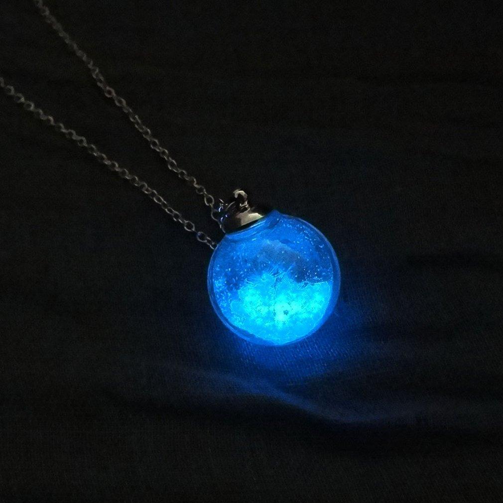 UNKE Glow in The Dark Luminous Dandelion Glass Globe Pendant Necklace,Blue&Green