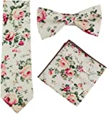 Skinny Floral Ties Set for Mens Cotton Necktie Hanky Bowtie Wedding Cravat