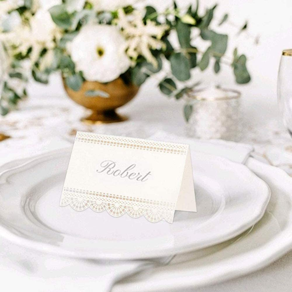 Nuluxi White Place Cards Name Signs Laser Cut Table Name Place Card White Paper Seat Numbers Cards Perfect Decoration for Weddings Birthday Banquets Bridal Showers and Other Gatherings 50 Sheets