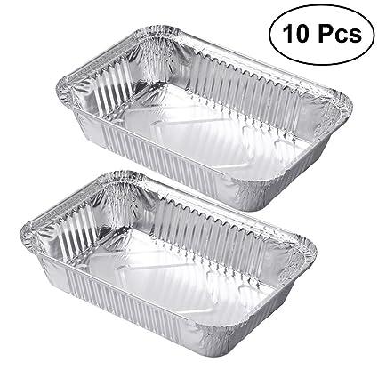 OUNONA - Bandejas de Aluminio Desechables para Alimentos, para Barbacoa, 10 Unidades