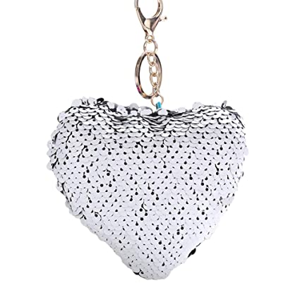 Amazon.com  Move on Glitter Sequins Heart Key Ring Holder Keychain ... 40fbca303