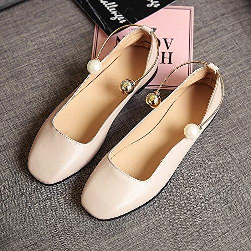 RUGAI-UE Sandalias de verano mujer boca superficial zapatos planos suaves Beige