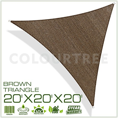 ColourTree 20' x 20' x 20' Sun Shade Sail Canopy  Triangle Brown - Commercial Standard Heavy Duty - 160 GSM - 4 Years Warranty (Shades Large Window Patio)
