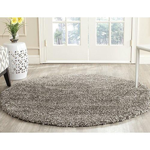 Acrylic Contemporary Rug (Safavieh Milan Shag Collection SG180-8080 Grey Round Area Rug (5'1