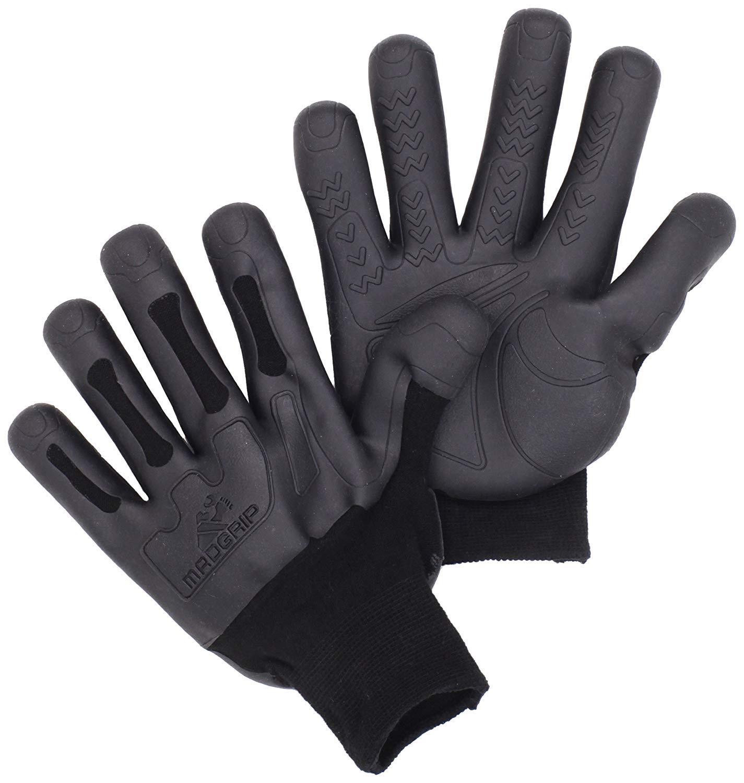 Mad Grip Pro Palm Knuckler Glove 100,Black/Black,Small/Medium 3 Pair