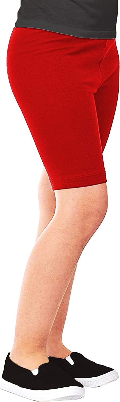 Pack of 6 Girls Kids Cotton Stretch Bike Short//Capri Knee Length Leggings