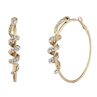 30d67ea88 Amazon.com: Lux Accessories Gold Tone Crystal Rhinestone Snake ...