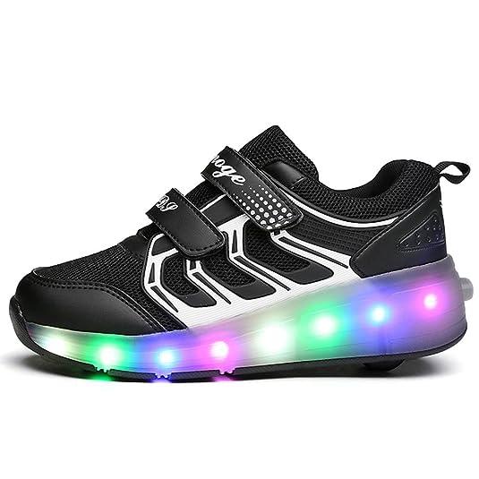 Meurry Kinder Roller Schuhe Skates Schuhe LED Skatesboard Schuhe Roller Skate Schuhe mit Rädern Licht Single Wheel Sportschuhe Jungen Mädchen (35 EU, Rosa)