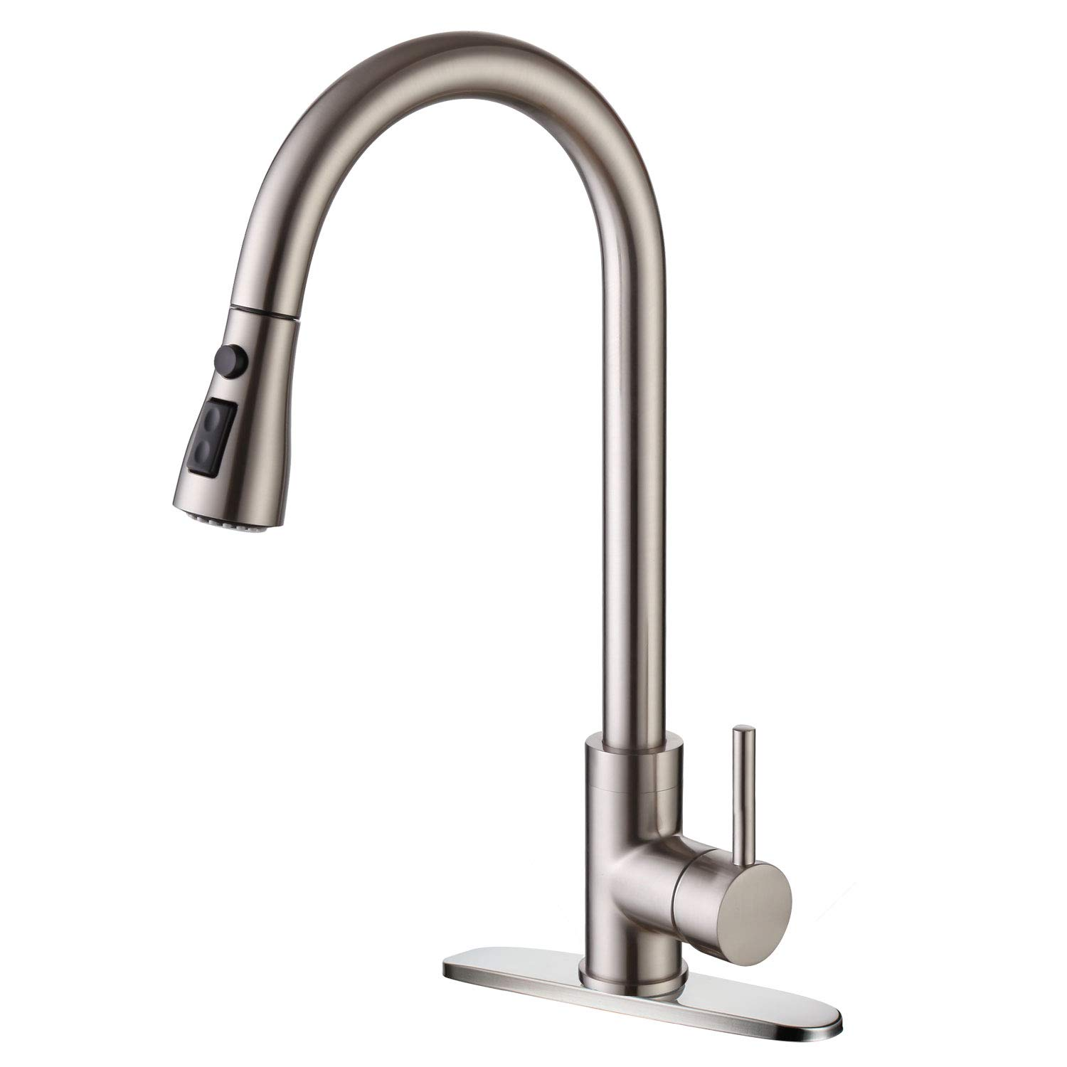 Moone Commercial Single Handle Kitchen Faucet Pull Down Sprayer Pull Out Spray Sink Faucets Stainless Steel Brushed Nickel
