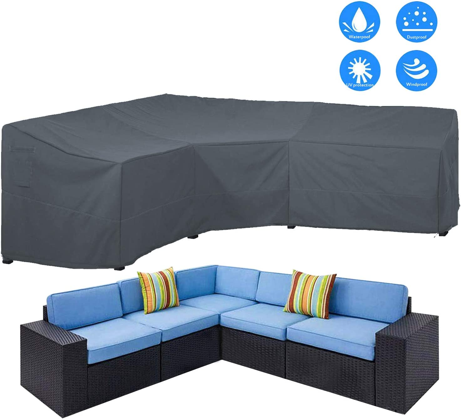 AKEfit Patio Furniture Cover Outdoor V-Shaped Sectional Sofa Cover Premium Waterproof Fabric Garden Couch Protector Grey 100 L x 33.5 D x 31 H