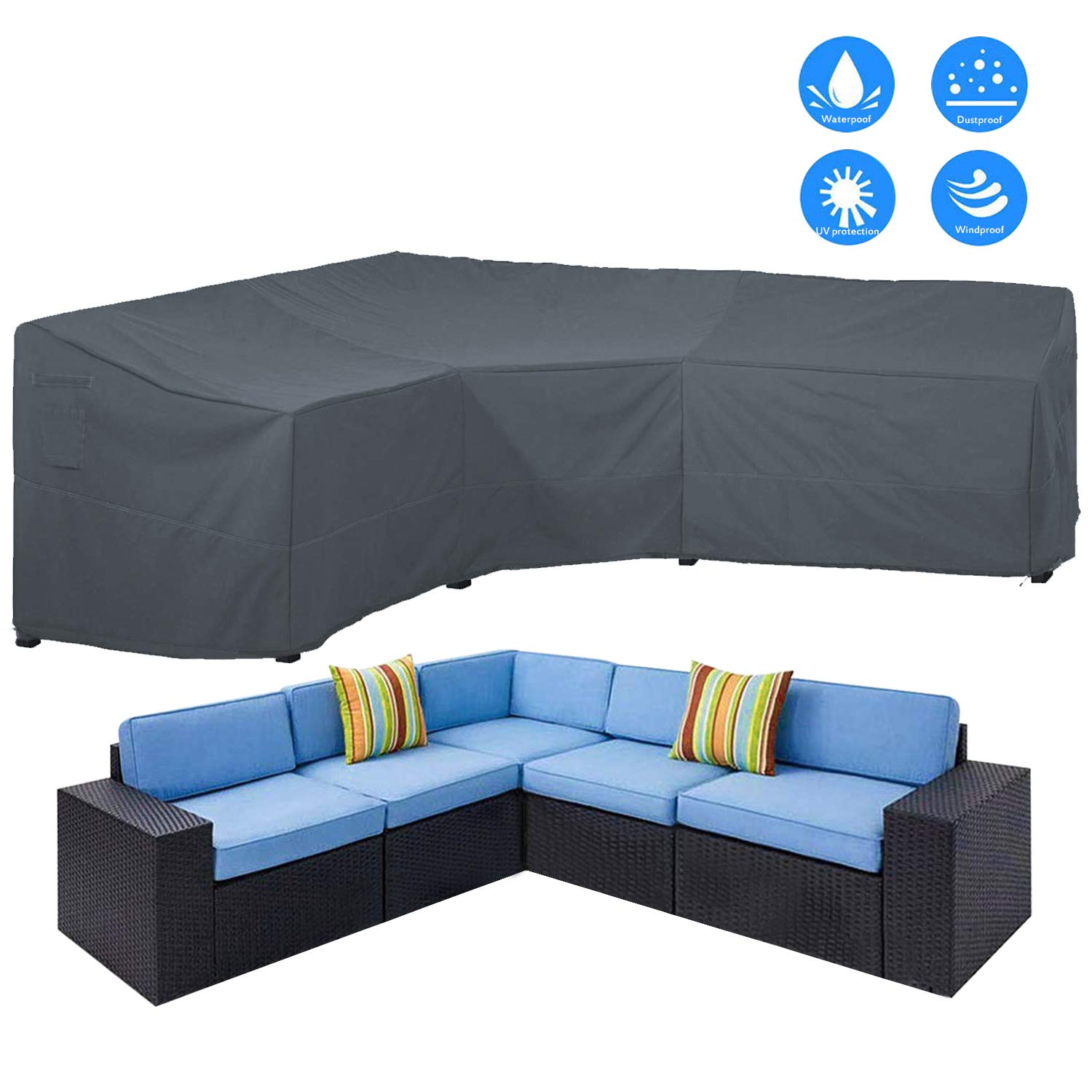 "AKEfit Patio Furniture Cover Outdoor V-Shaped Sectional Sofa Cover Premium Waterproof Fabric Garden Couch Protector Grey 100"" L x 33.5"" D x 31"" H"