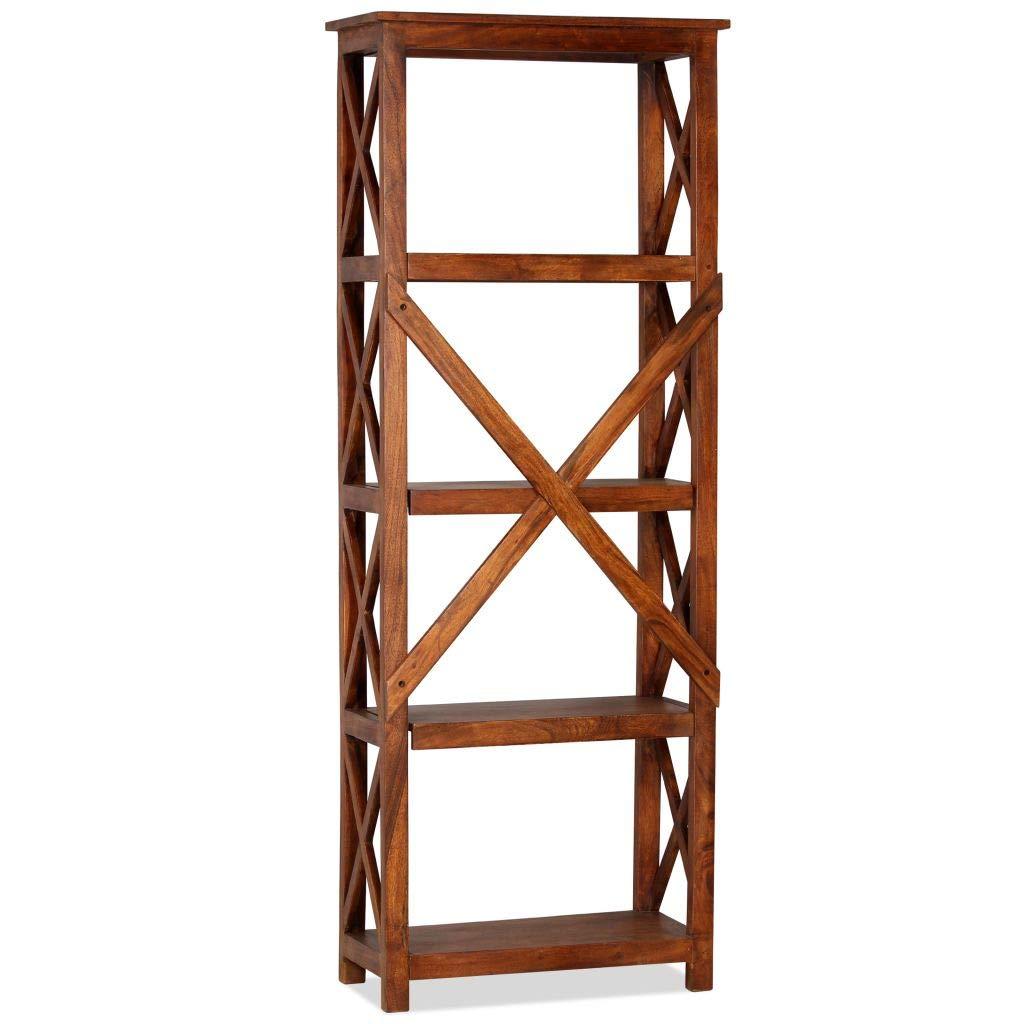 Festnight Bücherregal Standregal Stehregal aus Massives Akazienholz in Sheesham-Optik als Aufbewahrungsregal Holzregal 60 x 30 x 180 cm