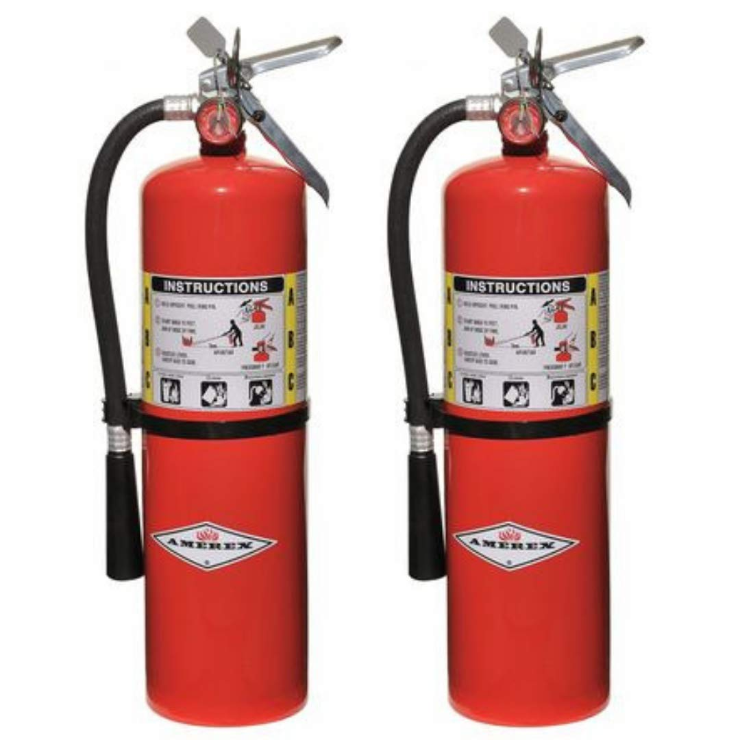 Amerex 10 Pound Stored Pressure ABC Dry Chemical 4A 80B C Steel Multi-Purpose Fire Extinguisher For Class A, B And C Fires With Anodized Aluminum Valve, Wall Bracket, Hose And Nozzle 2 Pack