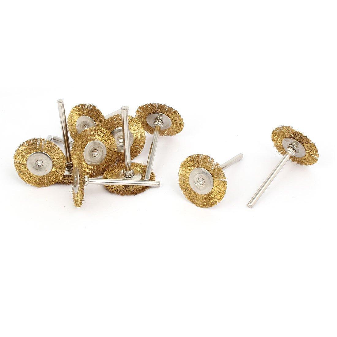 uxcell2.35mm Shank 25mm Head Dia Brass Wire Polishing Brush Wheel Buffing Tool 10pcs