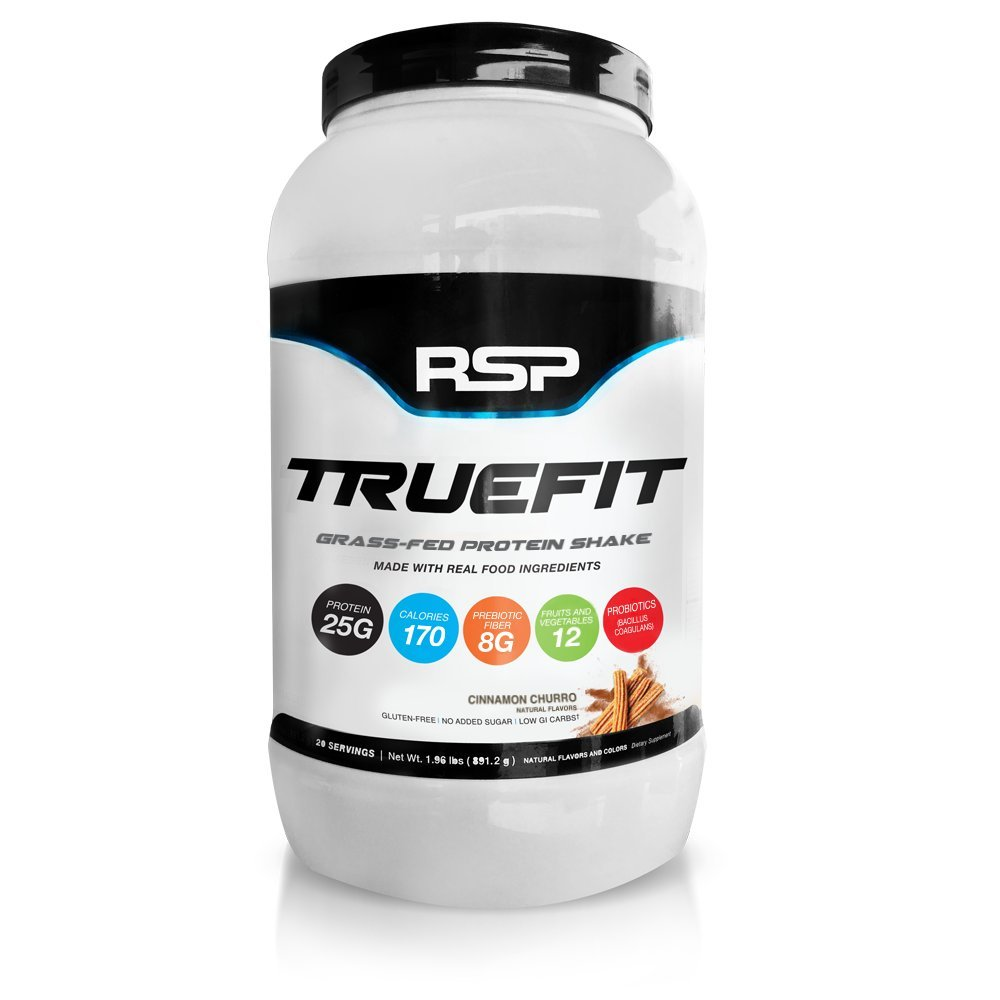 RSP TrueFit - New Grass-Fed Lean Meal Replacement Protein Shake, All Natural Whey Protein with Fiber & Probiotics from Real Whole Foods, Cinnamon Churro, 2LB Protein Powder