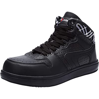 LARNMERN Steel Toe Boots for Men,Safety Work Boots Autumn Industrial Construction Shoes L9095 (14 Women/12 Men, Black/White): Shoes