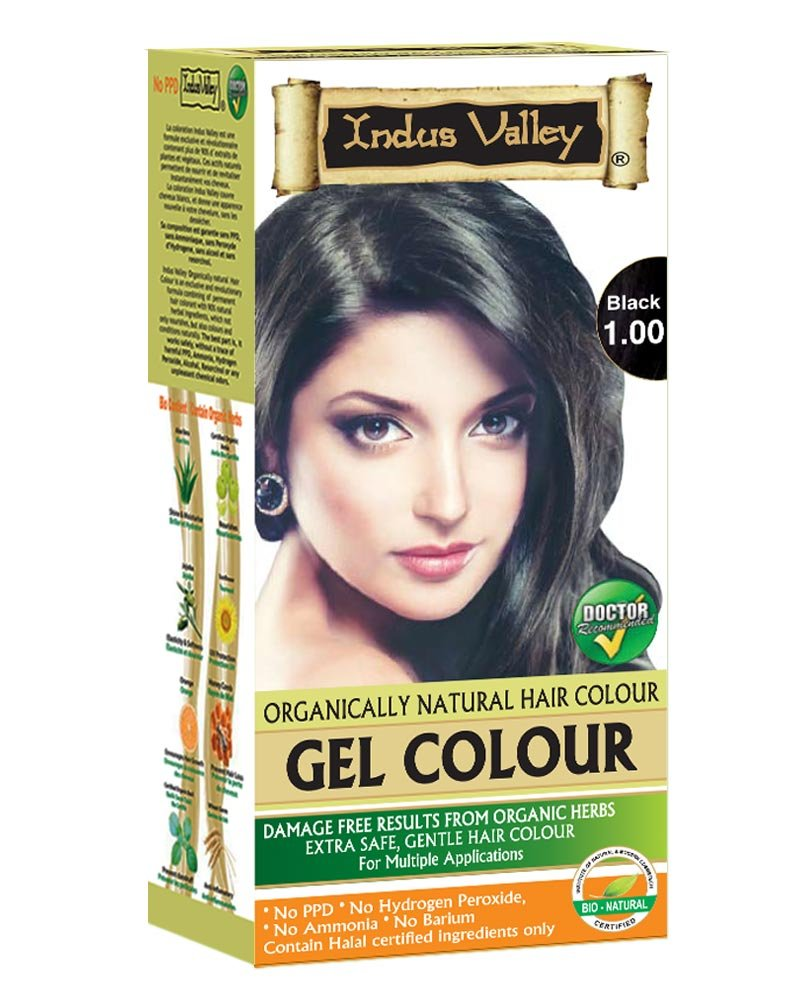 Indus Valley Organically Natural Permanent Gel Black 1.0 Hair Color For Long Lasting Effect on hair