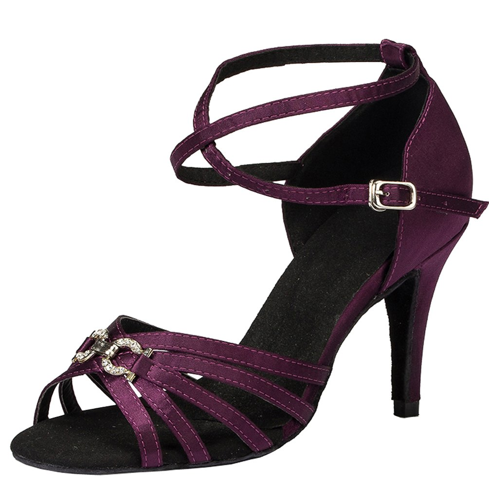 Abby YFYC-L063 Womens Latin Tango Ballroom 3.3 inch Heel Professional Satin Dance Shoes Purple US Size7