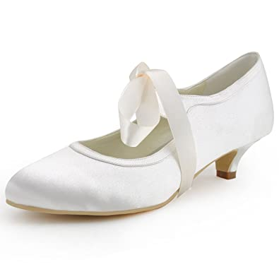 elegantpark ep41017 mary jane women closed toe ribbon low heel satin pumps wedding bridal shoes ivory