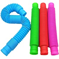 QADN 4 peças de tubos pop sensoriais, brinquedos de descompressão de tubo telescópico de cores extensíveis, ajuda a…