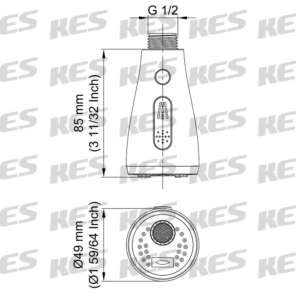 KES Kitchen Faucet Sprayer Head Replacement Pull Out Kitchen Faucet Parts Spray Head 3-Function G1/2 Connection Chrome, PFS12B-CH by Kes (Image #4)