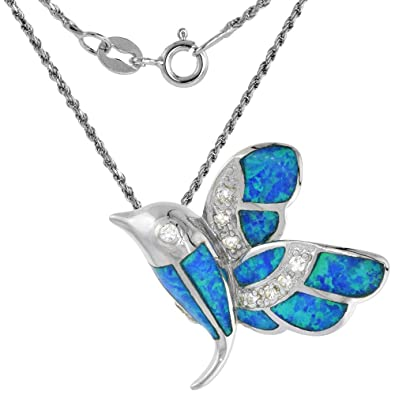 1244ac806 Amazon.com: Sterling Silver Synthetic Opal Hummingbird Necklace for Women  with CZ Stones 1 inch 16 inch ROPH_25: Jewelry