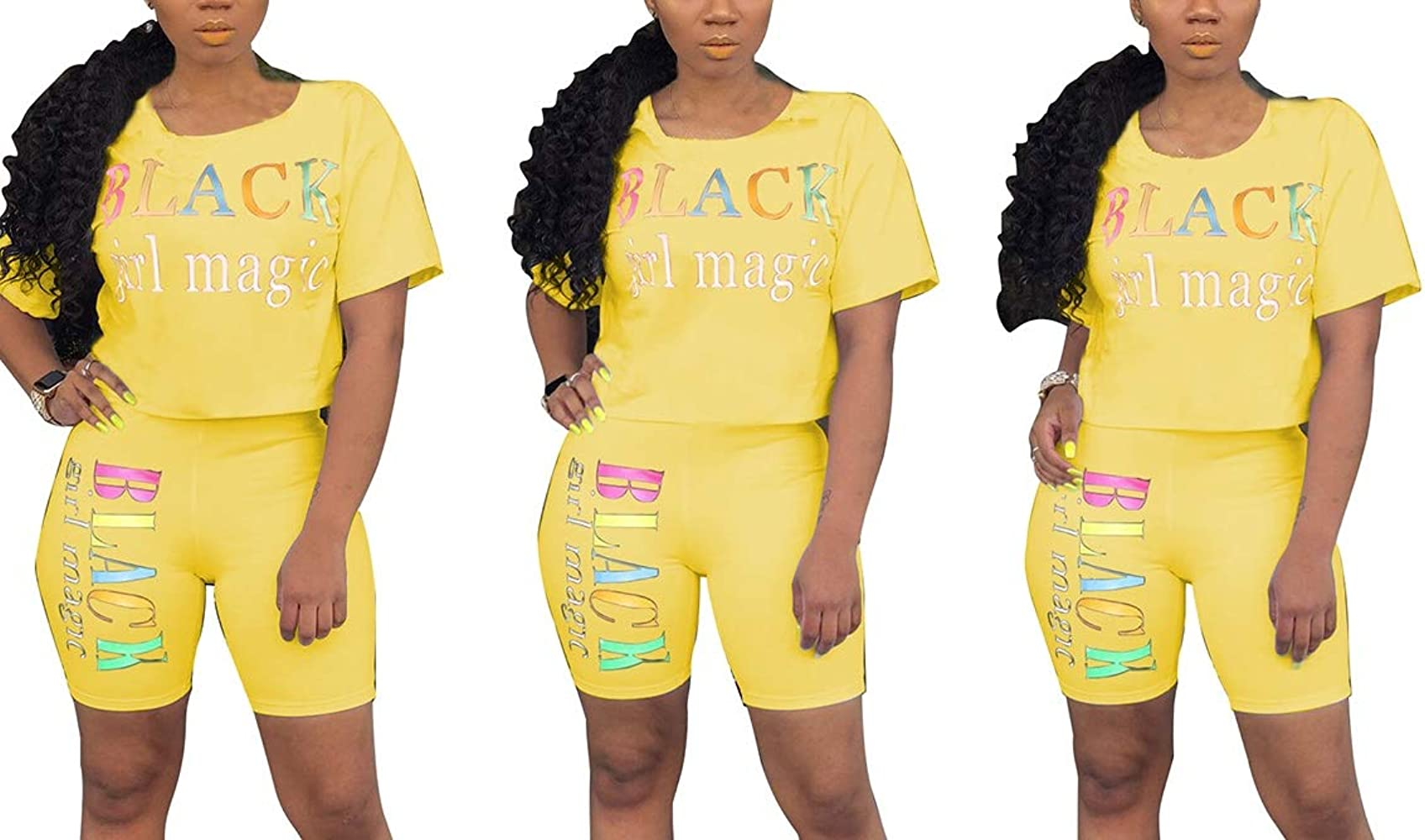 Remelon Women Short Sleeve Sequin Eyes Patchwork T Shirt Top Bodycon Pockets Shorts Set 2 Piece Romper Outfits Tracksuits