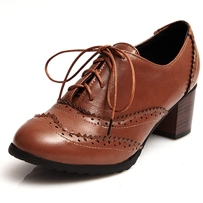 SERAPH Zapatos Brogue vintage de mujer, tacones altos con cordones y botines huecos con cordones D82: Amazon.es: Ropa y accesorios