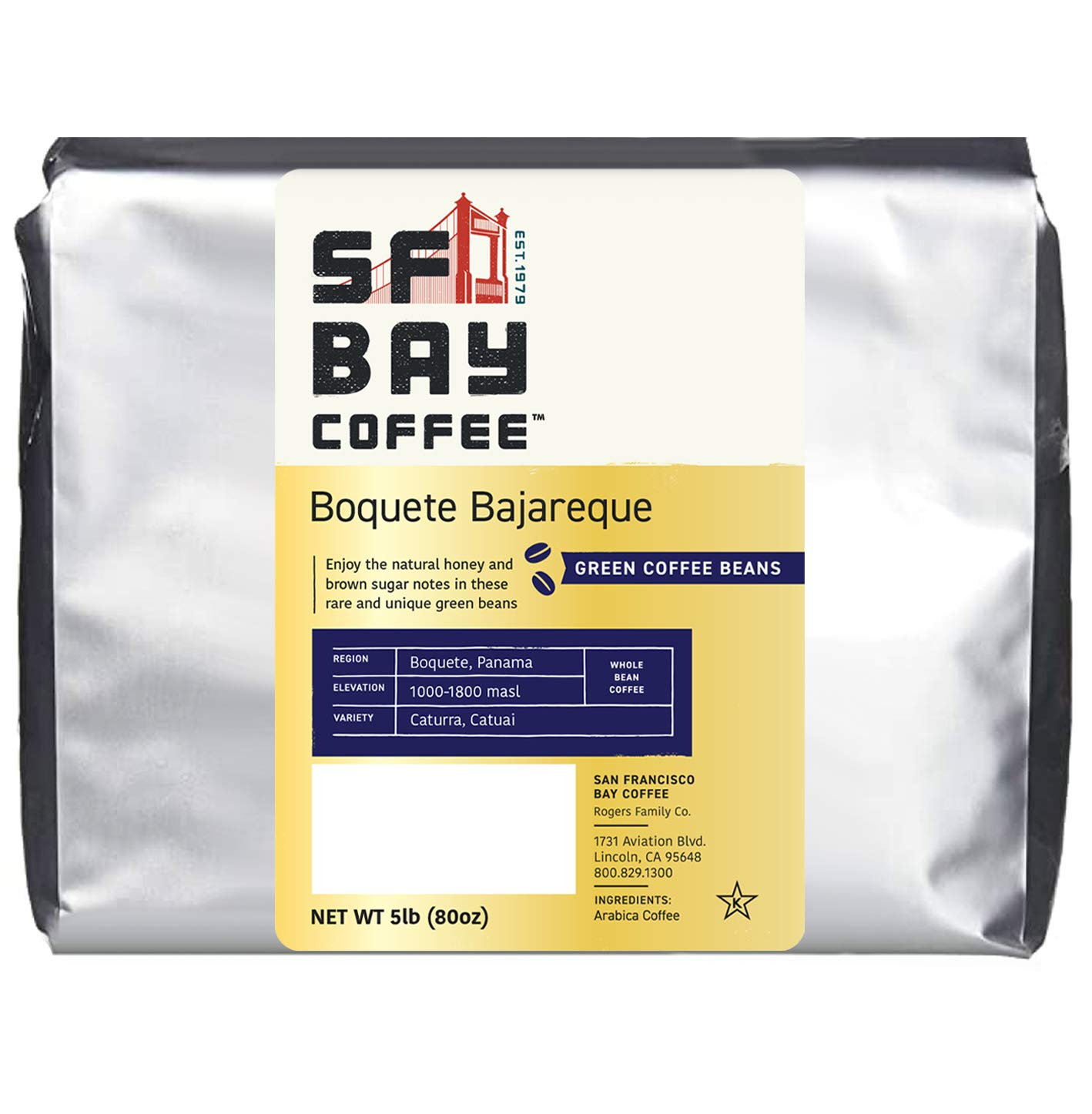 San Francisco Bay Unroasted Green Coffee Beans, Panama Boquete Bajareque, Specialty Grade Coffee, Direct Trade, 5 Lb