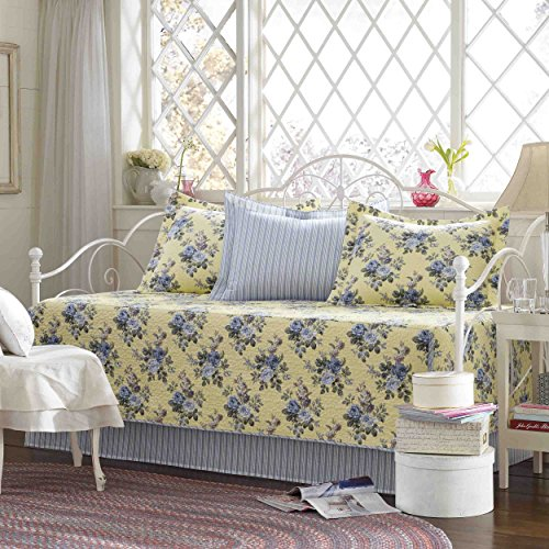 (Laura Ashley 5 Piece Linley Daybed Cover Set, Yellow)