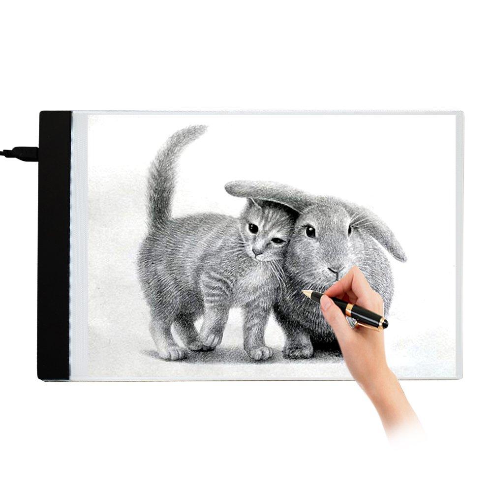 New_Soul Tablette Lumineuse A4 Dessin Table Lumineuse A4 LED Copy Plaque avec Luminosité Réglable