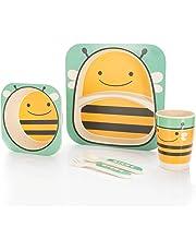 all Kids United Kindergeschirr-Set aus Bambus-Geschirr für Kinder Kindergeschirrset aus Bambus Set 5-teilig; Biene