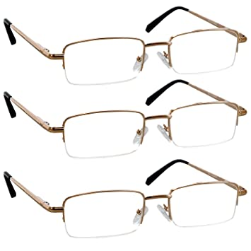 2f41c828904 Reading Glasses 1.75 Gold 3 Pack for Men and Women Stylish Look Crystal  Clear Vision When