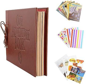 Po Albums - Vintage Kraft Paper Sheets Card Set Our My Adventure Book Album With Handmade Diy Photo Foto - Scrapbook Scrapbook Pack Photo Adventure Card Fotoalbum Photo Big Album Scrapbook: Amazon.es: