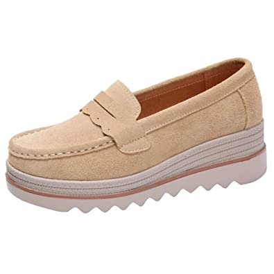 d96f07195fb Women Platform Slip On Loafers Comfort Suede Moccasins Wide Low Top Wedge  Shoes Apricot