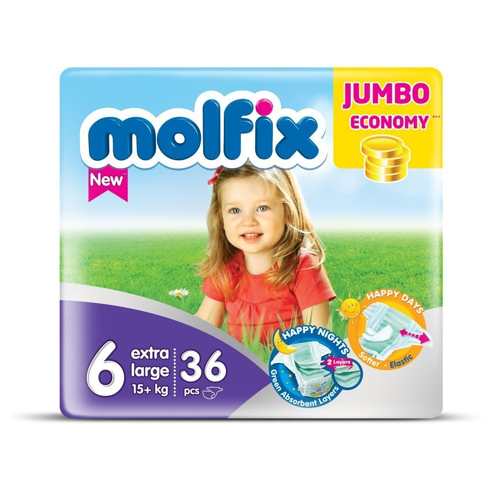 Molfix Extralarge/Jumbo Economie Pack de 36 Couches 15+ kg Taille 6 HA5043567