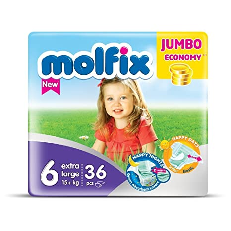 molfix Extralarge/Jumbo bajo Pack de 36 Pañales 15 + kg Tamaño 6
