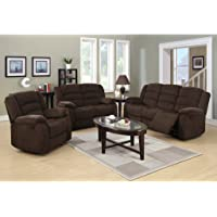 Langria 3-Piece Reclining Sofa Set in Chocolate