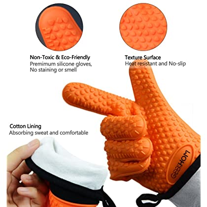 GEEKHOM Grilling Gloves, Heat Resistant Gloves BBQ Kitchen Silicone Oven Mitts, Long Waterproof Non-slip Potholder for Barbecue, Cooking, Baking (Orange)