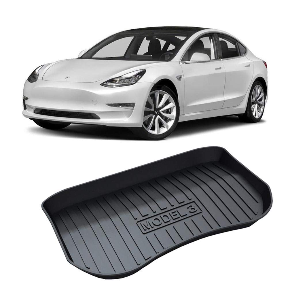 Hamkaw Tesla Model 3 Front//Rear Trunk Floor Liner Tesla Model 3 Accessories for Protect Rear Cargo//Trunk Floor
