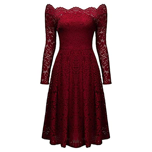 soucool womens vintage floral lace christmas dress long sleeve cocktail wedding party dresses - Long Christmas Dresses