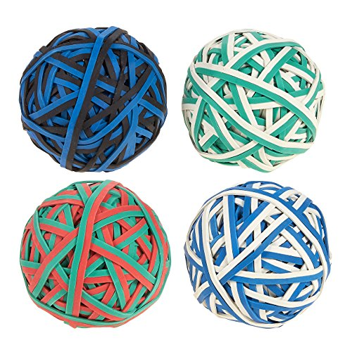 Set of 4 Colorful Rubber Band Balls - Elastic Rubber Bands Pack, Rubber Band Balls for DIY, Arts & Crafts, Document Organizing, White, Green, Black, Red, Blue - Pitching Rubber Dimensions