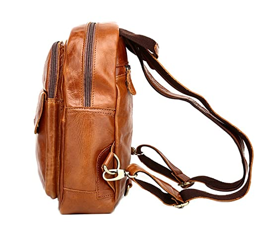 Amazon.com | Genda 2Archer Vintage Leisure Genuine Leather Small Sling Backpack for Men and Women (Brown) | Casual Daypacks